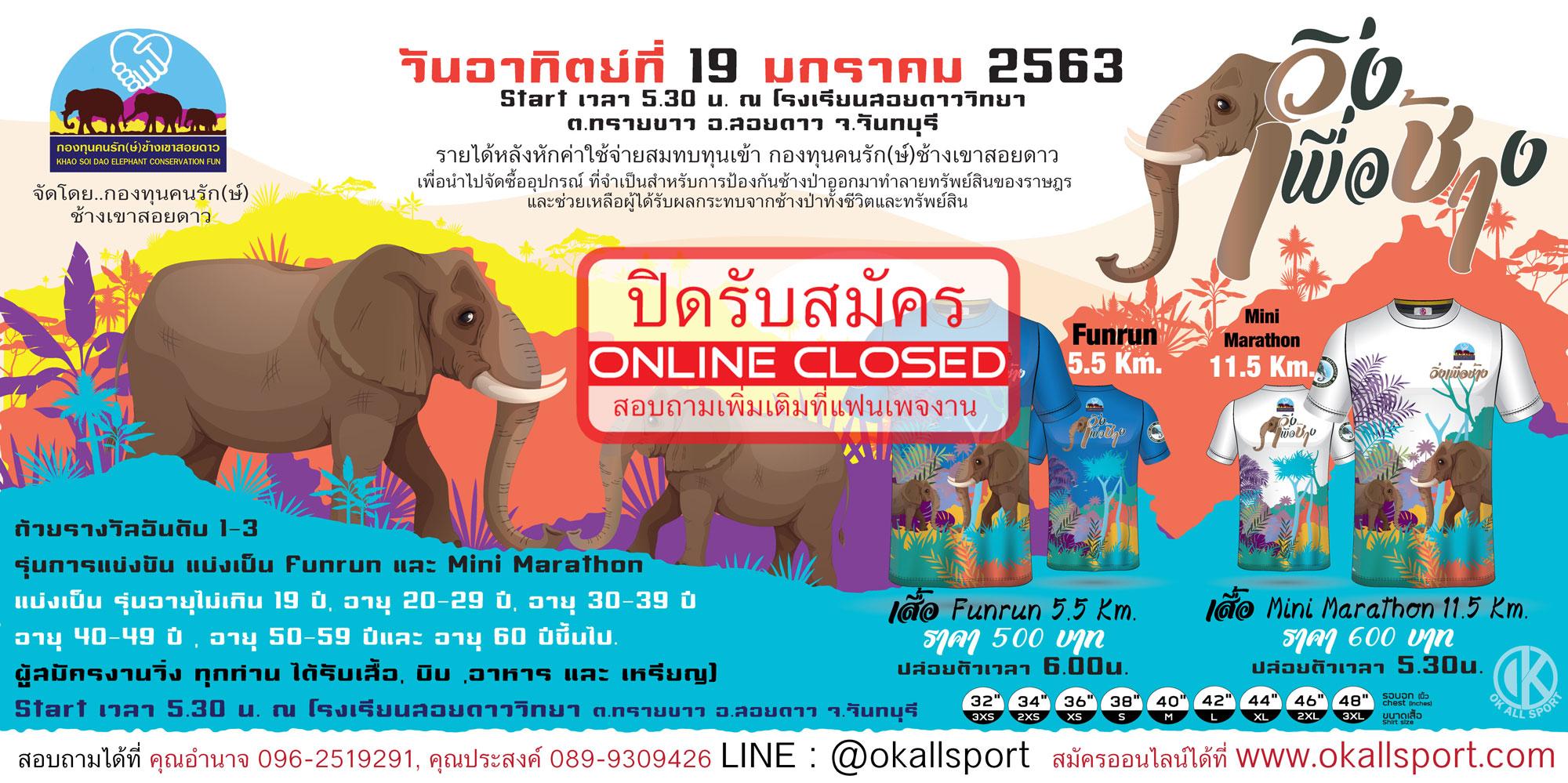 วิ่งเพื่อช่้าง Run for Elephants 2020